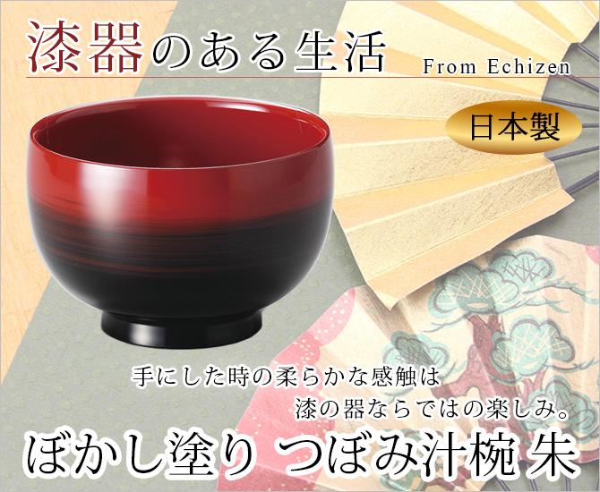 ぼかし塗り つぼみ汁椀 朱